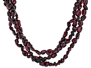 Purple Rhodolite nuggets Sterling Silver 3-Row Necklace