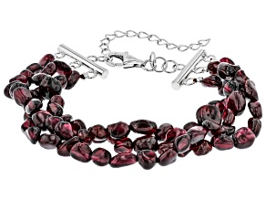 Purple Rhodolite nuggets Sterling Silver 3-Row bracelet