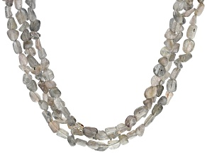 Gray Labradorite rhodium over sterling silver 3-row necklace