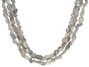 Gray Labradorite rhodium over sterling silver 3-row necklace
