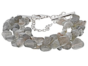 Gray Labradorite rhodium over sterling silver 3-row bracelet
