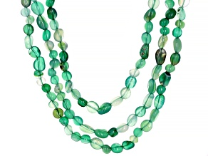 Green onyx multi-row Sterling Silver Necklace