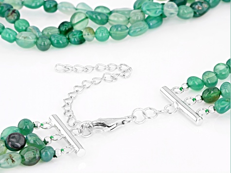 Green onyx 3-row Sterling Silver Necklace