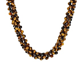 Yellow Tiger's Eye Knitted Sterling Silver Necklace