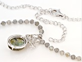 Gray labradorite Sterling Silver Necklace 0.27ctw
