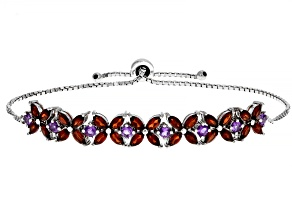 Red garnet Rhodium Over Silver Bolo Bracelet 4.50ctw