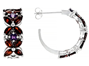 Red garnet Rhodium Over Silver hoop earrings 2.70ctw