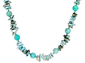 Blue Amazonite rhodium over sterling silver necklace