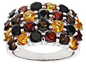 Multi-Gemstone Rhodium Over Silver Band Ring 4.58ctw