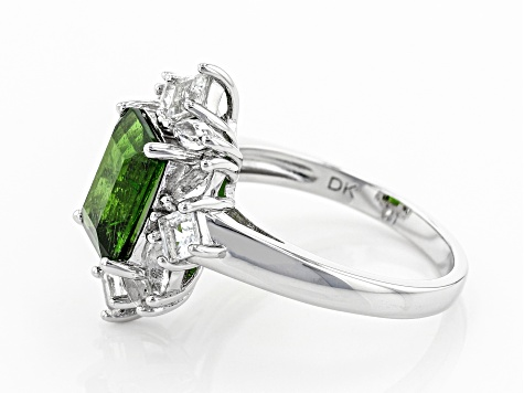 Green Chrome Diopside Rhodium Over Silver Ring 3.16ctw