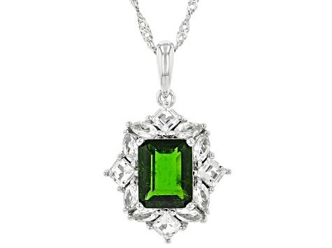 Green Chrome Diopside Rhodium Over Silver Pendant With Chain 3.16ctw
