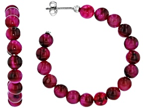 Pink Tigers Eye Rhodium Over Sterling Silver J-Hoop Earrings