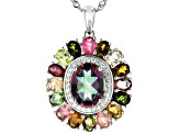 Mystic Fire(R) Green Topaz Rhodium Over Silver Pendant With Chain 4.84ctw