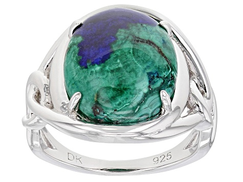 Blue Azurmalachite Rhodium Over Silver Ring