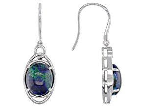 Blue Azurmalachite Rhodium Over Silver Earrings