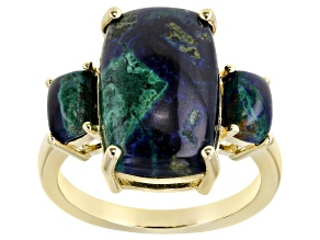 Blue Azurmalachite 18k Gold Over Silver Ring