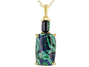 Blue Azurmalachite 18k Gold Over Silver Pendant With Chain
