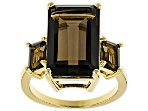 Brown Smoky Quartz 18k Gold Over Silver Ring 8.95ctw