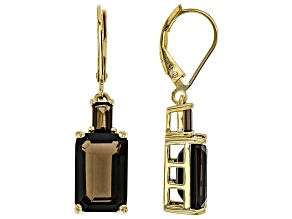 Brown Smoky Quartz 18k Gold Over Silver Earrings 7.84ctw