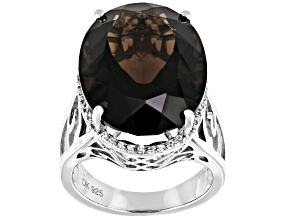 Brown Smoky Quartz Rhodium Over Silver Ring 18.67ctw