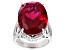 Red Lab Created Ruby Rhodium Over Silver Ring 22.93ctw