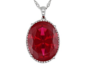 Red Lab Created Ruby Rhodium Over Silver Pendant With Chain 22.93ctw