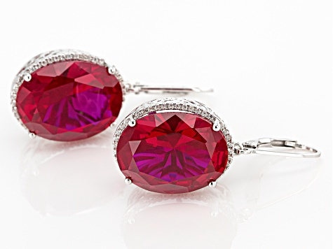 Red Lab Created Ruby Rhodium Over Silver Earrings 30.22ctw
