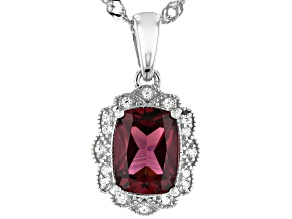 Purple Raspberry Color Rhodolite Rhodium Over Silver Pendant With Chain 1.80ctw