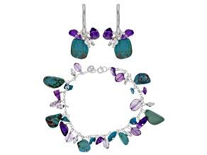 Blue Turquoise Rhodium Over Silver Bracelet & Earrings Set
