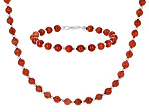 Red Coral Rhodium Over Silver Bead Necklace & Bracelet Set