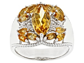 Golden Citrine Rhodium Over Silver Ring 2.57ctw