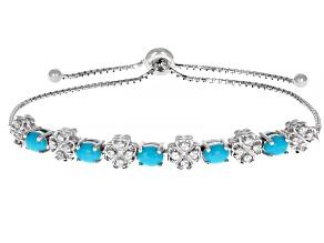 Blue Turquoise Rhodium Over Silver Bolo Bracelet .59ctw