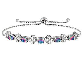 Blue Petalite Rhodium Over Silver Bolo Bracelet .41ctw
