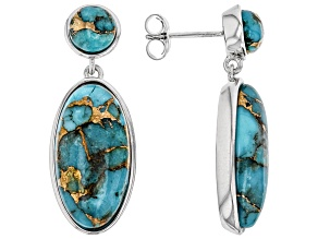 Blue Mohave Turquoise Rhodium Over Sterling Silver Earrings