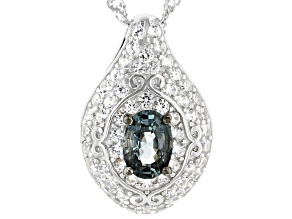 Grey spinel rhodium over sterling silver pendant with chain 1.72ctw