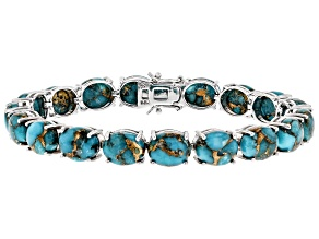 Blue Mohave Turquoise Rhodium Over Sterling Silver Bracelet