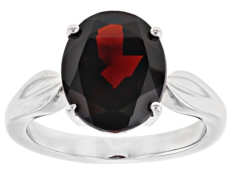 Red Garnet Rhodium Over Silver Ring 5.25ct