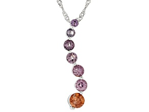 Multi-Color Spinel Rhodium Over Silver Journey Pendant With Chain 1.43ctw