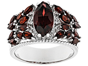 Red Garnet Rhodium Over Silver Ring 3.79ctw