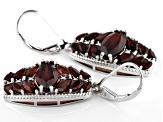 Red Garnet Rhodium Over Silver Earrings 8.09ctw