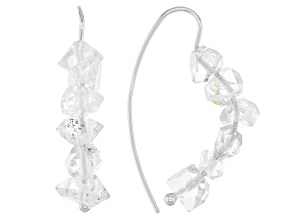 White Doubly Terminated Quartz Rhodium Over Silver Earrings