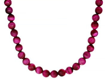 Picture of Pink Tigers Eye Strand Rhodium Over Silver Necklace