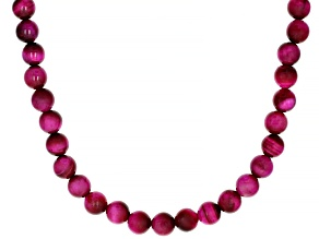 Pink Tigers Eye Strand Rhodium Over Silver Necklace