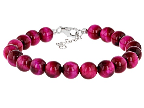 Pink Tigers Eye Rhodium Over Sterling Silver Bracelet