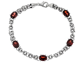 Red Garnet Rhodium Over Sterling Silver Bracelet 6.37ctw