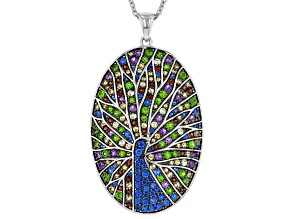 Multi-Gemstone Rhodium Over Sterling Silver Peacock Pendant with Chain 2.45ctw