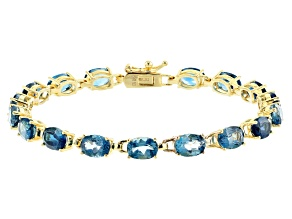 Blue Topaz 18k yellow gold over sterling silver bracelet 17.00ctw