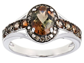 Brown andalusite rhodium over sterling silver ring1.60ctw