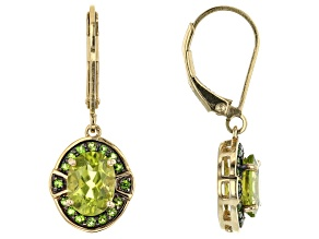 Green peridot 18k yellow gold over silver earrings 2.50ctw