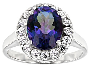 Blue Petalite Rhodium Over Silver Ring 2.82ctw